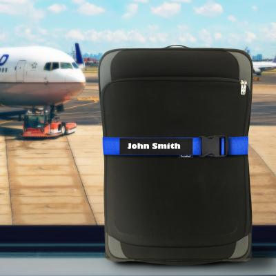 Personalised Luggage Straps Shown on Suitcase