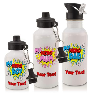 Personalised-Water-Bottle-with-My-Hero-Design-in-White 600ml with Drinking Straw and Screw Cap Personalised with Text