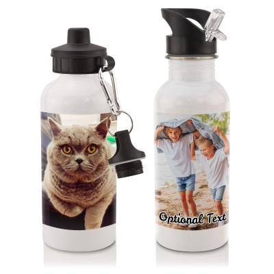 Personalised Water Bottle with Photo Upload and Lid Options