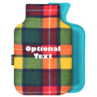 personalised hot water bottle standard 2 litre and removable cover personalised with text