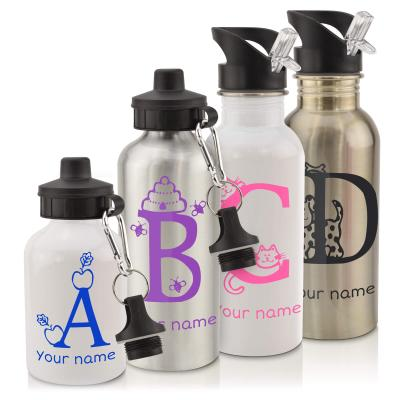 School Water-Bottles in White and Silver 600ml and 400ml with Screw Cap and Straw with Alphabet Theme Personalised with Text