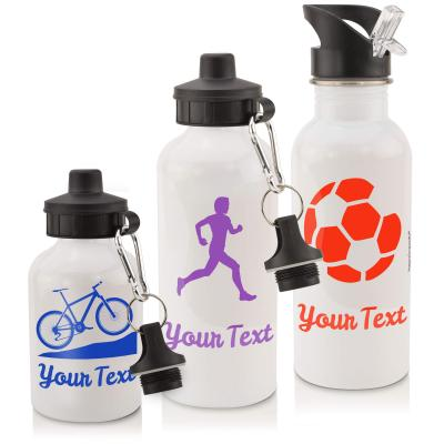 Sports Water Bottle in White 600ml and 400ml Personalised with Text