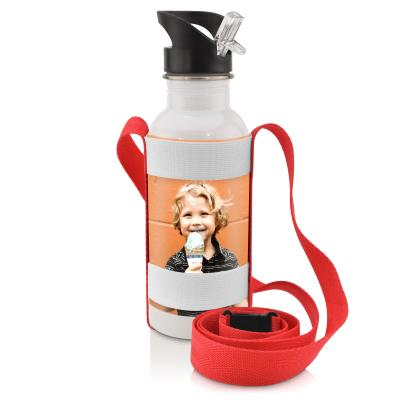 Water Bottle Sling  Double Elastic in Red and Black on Water Bottle