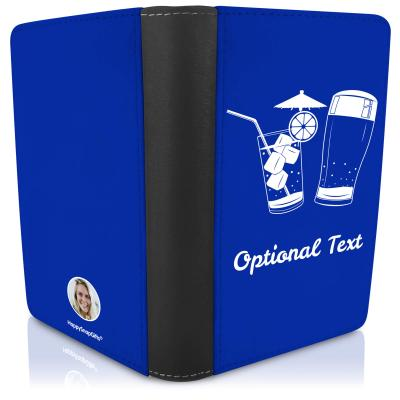 (UK Standard 21cm) (Drinks Icon) - Royal Blue   (Personalised with Text)