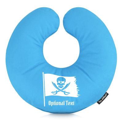 (30cm) with Pirate Flag Icon - Sky Blue Mock Suede Polyester Fabric (Personalised with Text)