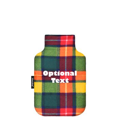 - Mini (750ml) - Tartan Colour Check Fleece Fabric and Removable Cover (Personalised with Text)